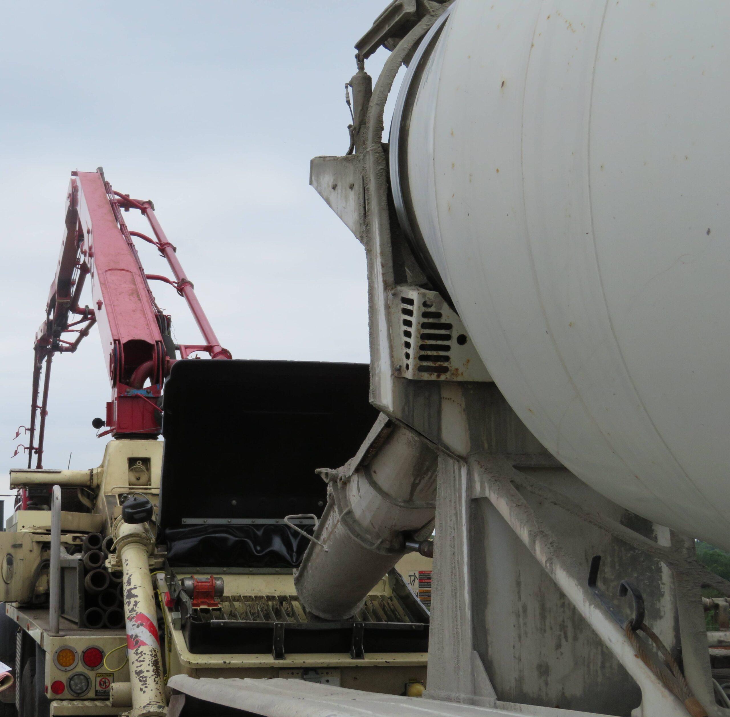 Concrete truck and pump preparing for the concrete deck placement