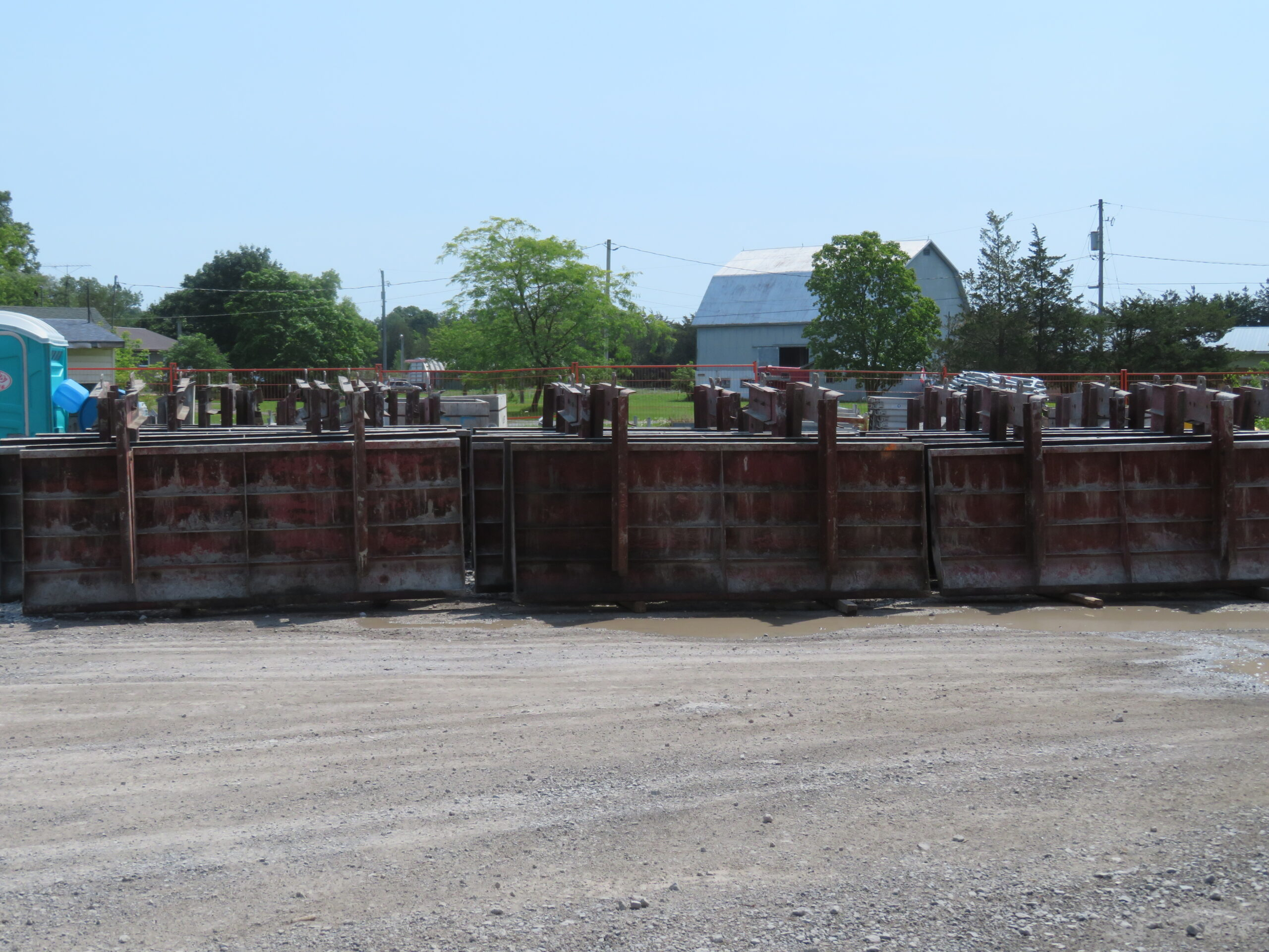 Barrier wall formwork delivered in preparation for concrete placement
