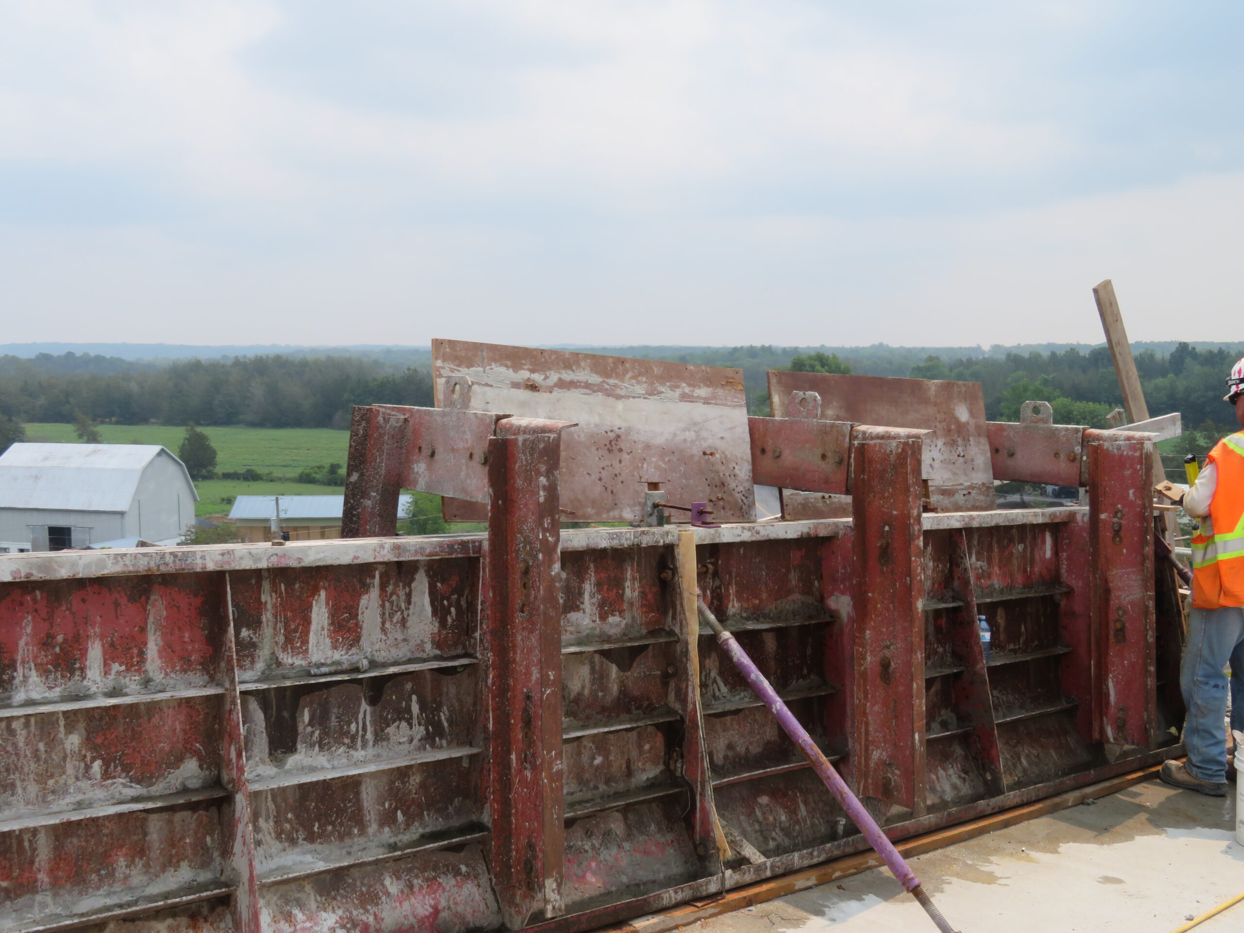 Close-up barrier wall forms, awaiting concrete placement