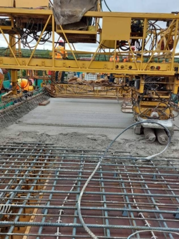 Newly placed concrete
