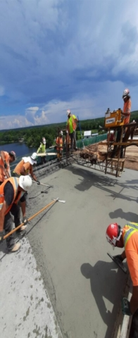 Finishing the last section of concrete