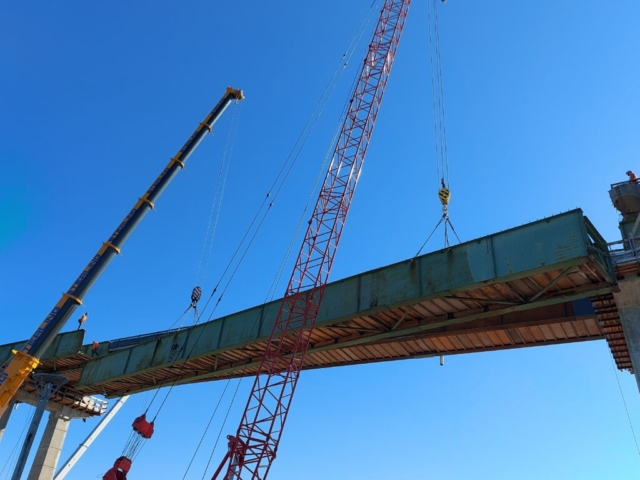 Close-up of girder removal