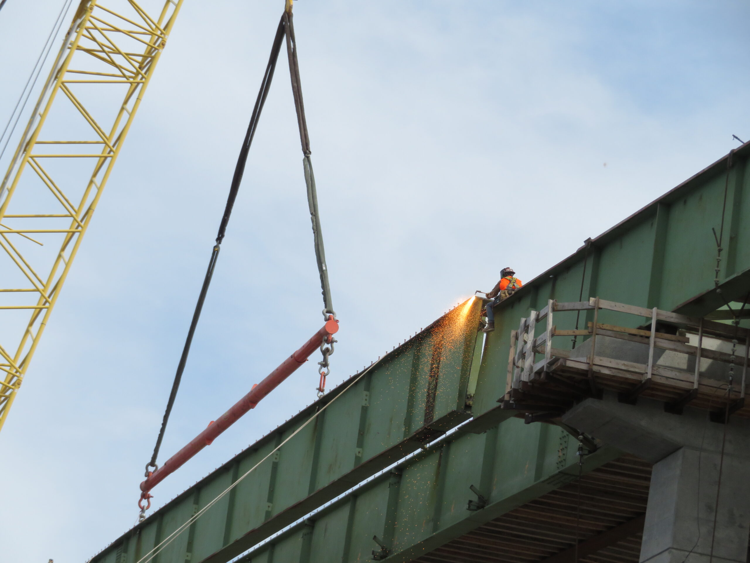 Final cuts, girder section ready to be lowered