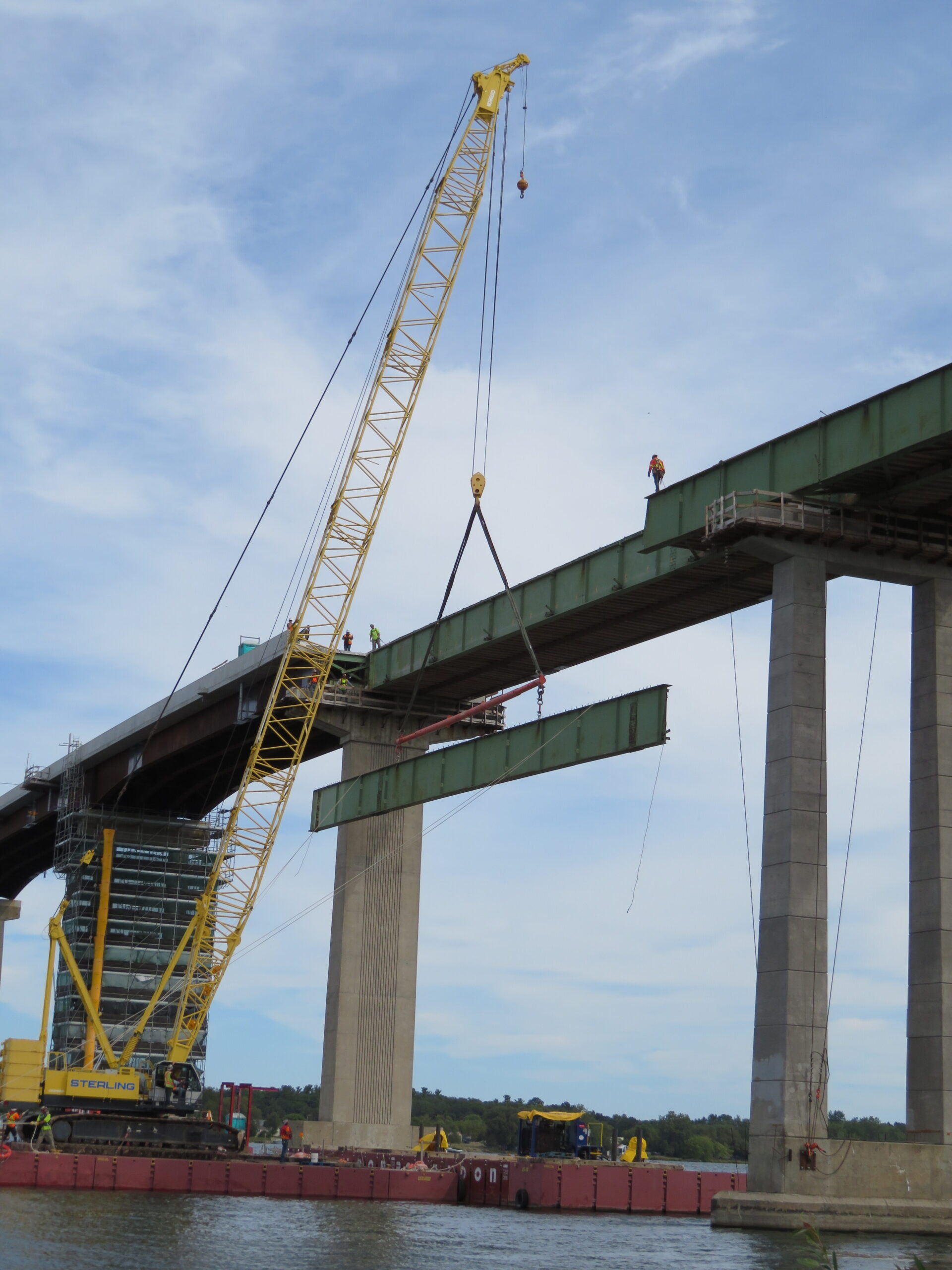 200-ton crane lowering the approach girder section