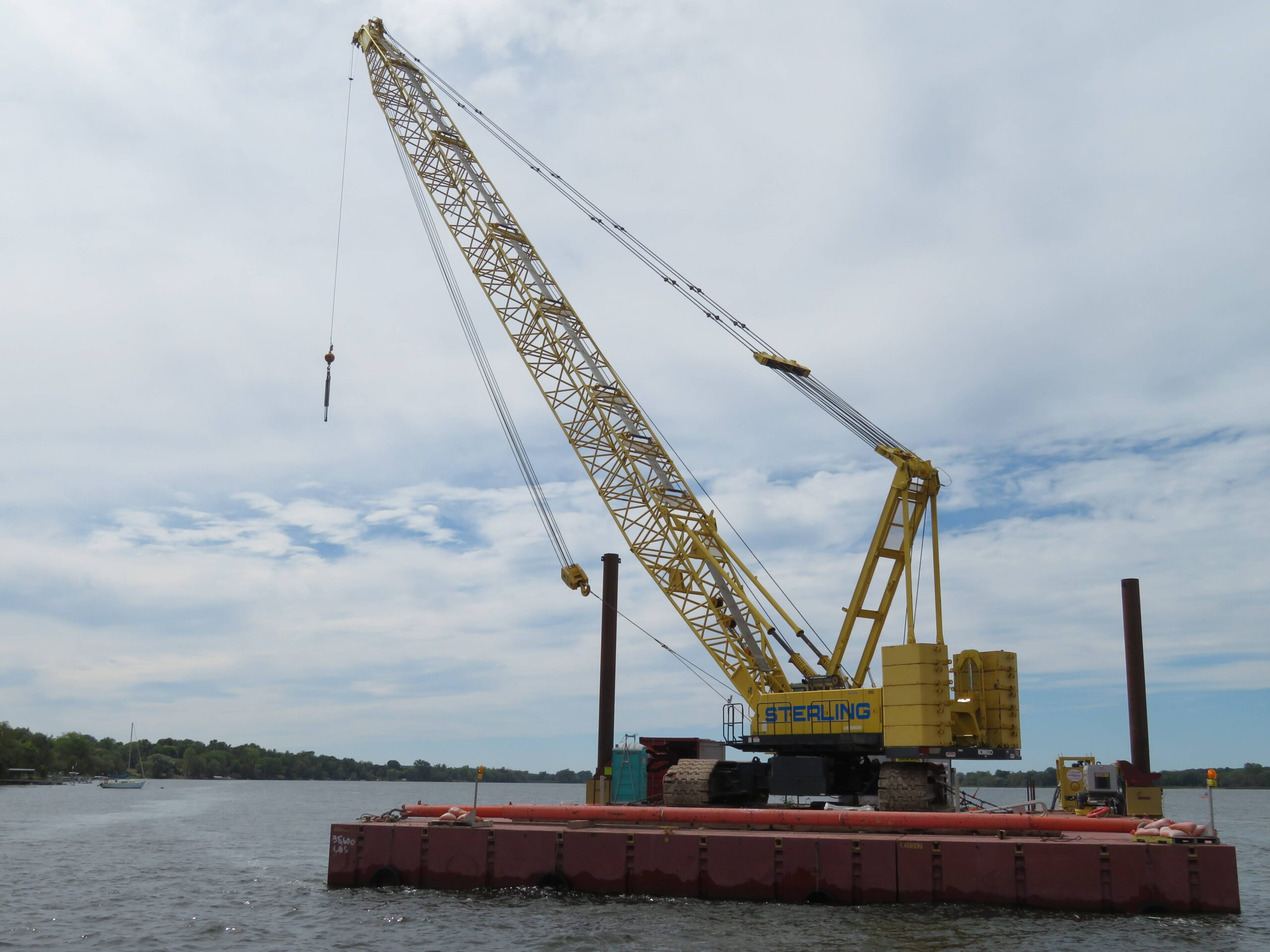 200-ton crane on the barge, spreader bar ready for the second girder removal