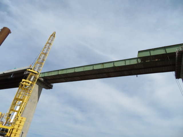"""Segment """"D"""" stage 2, first section of girder removed"""