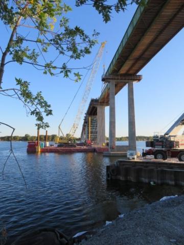 200-ton crane set up for the second girder lift