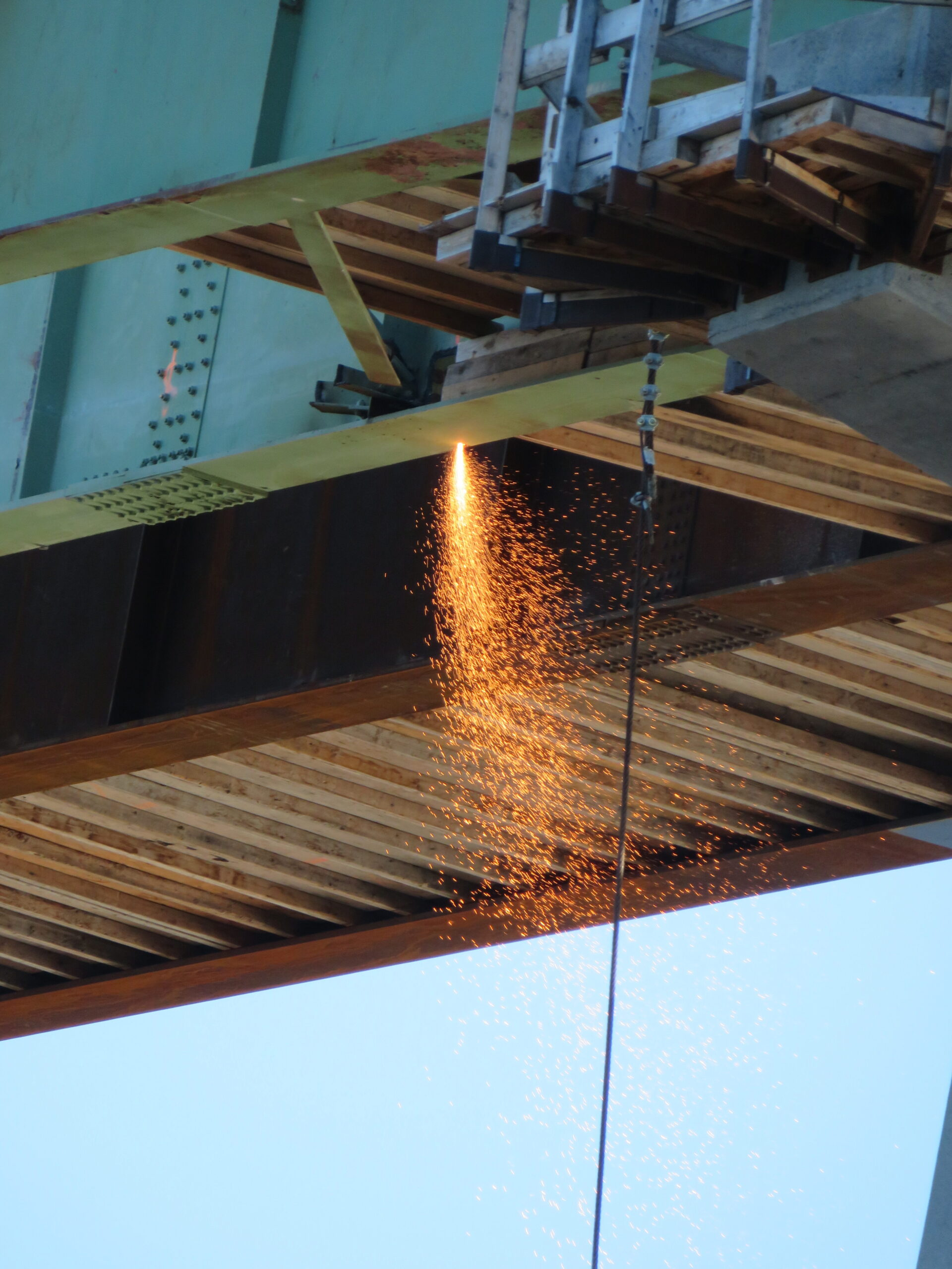 Starting to cut the bottom flange on the second girder section