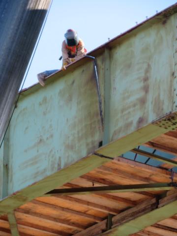 Cut section of the approach girder